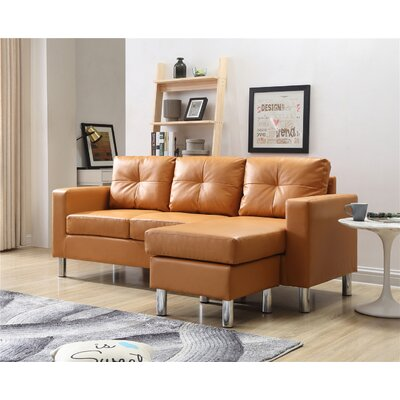 Marybelle Convertible Reversible Sectional with Ottoman Upholstery: Mocha