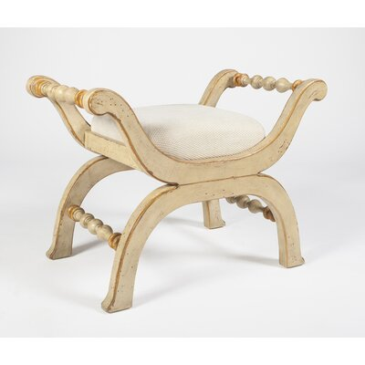 Kadine Upholsterd Bench Color: Cream and Gold