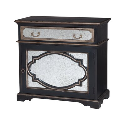 Hillwill Mirrored 1 Door 1 Drawer Accent Cabinet