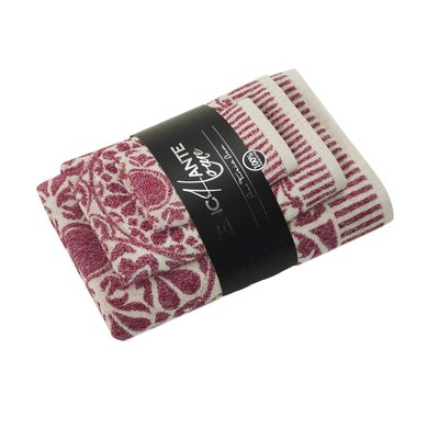3 Piece Turkish Cotton Towel Set Color: Red Melange