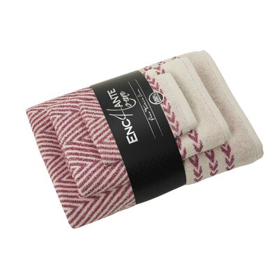 Salina 3 Piece Turkish Cotton Towel Set Color: Red Melange