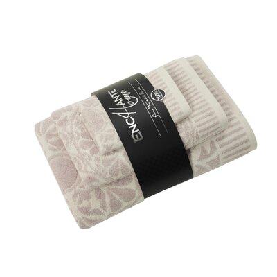 3 Piece Turkish Cotton Towel Set Color: Beige Melange