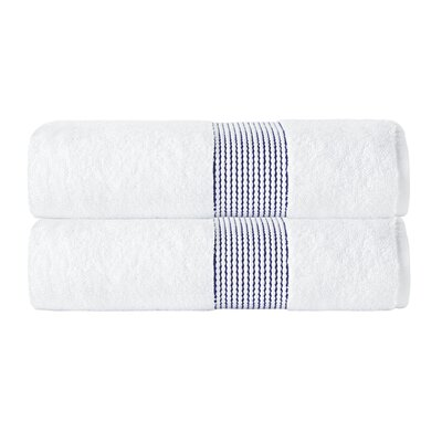 Elegante Turkish Cotton Bath Towel Color: White/Navy