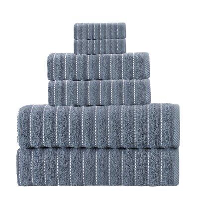 Napa 6 Piece Turkish Cotton Towel Set Color: Navy
