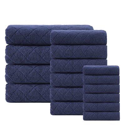 Villeroux 16 Piece Turkish Cotton Towel Set Color: Navy