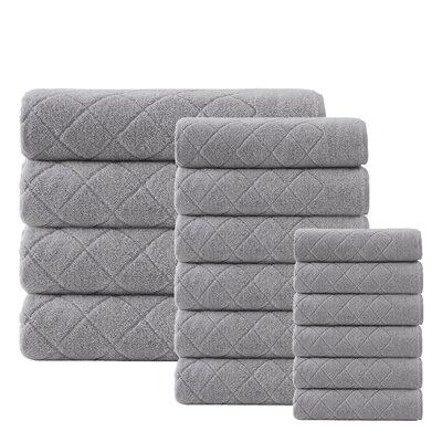 Villeroux 16 Piece Turkish Cotton Towel Set Color: Silver