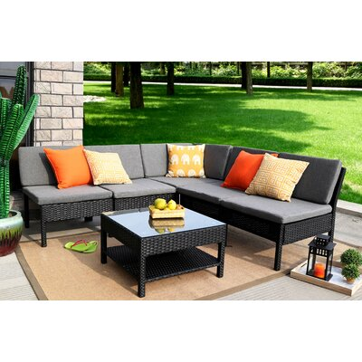 Spiaggia 6 Piece Sectional Set with Cushions Color: Black