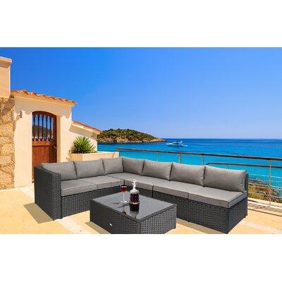 Nat 4 Piece Sofa Set with Cushions Color: Black