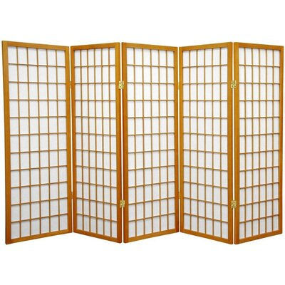 Noan Room Divider Number of Panels: 5 Panels, Color: Honey
