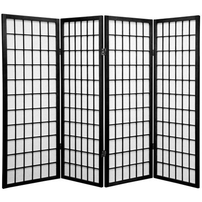 Noan Room Divider Number of Panels: 4 Panels, Color: Black