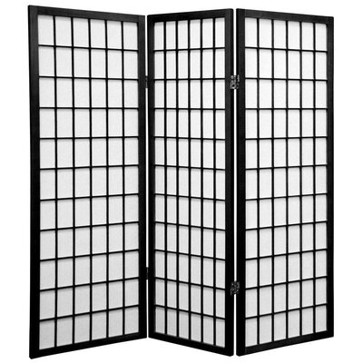 Noan Room Divider Number of Panels: 3 Panels, Color: Black
