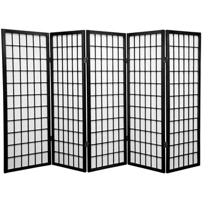 Noan Room Divider Number of Panels: 5 Panels, Color: Black