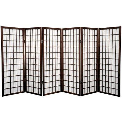 Noan Room Divider Number of Panels: 6 Panels, Color: Walnut