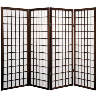 Noan Room Divider Number of Panels: 4 Panels, Color: Walnut