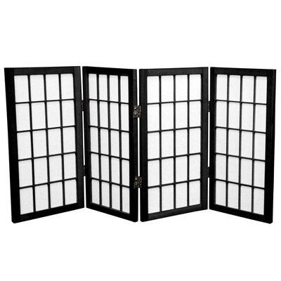 Noan Shoji Room Divider Number of Panels: 4 Panels, Color: Black