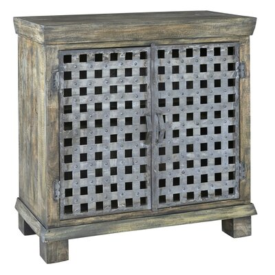 Kace Metal Lattice Work and Mango Wood 2 Door Accent Cabinet
