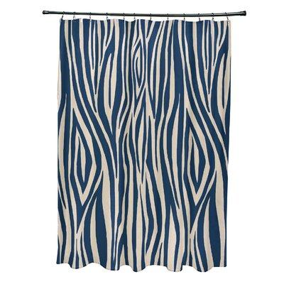 Kam Wood Print Shower Curtain Color: Navy Blue