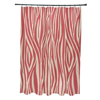 Kam Wood Print Shower Curtain Color: Coral