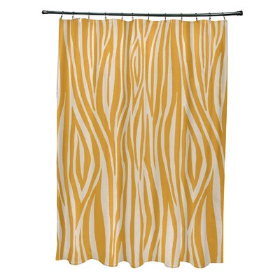 Kam Wood Print Shower Curtain Color: Gold