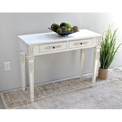 Betty Rectangle Console Table Color: Antique White