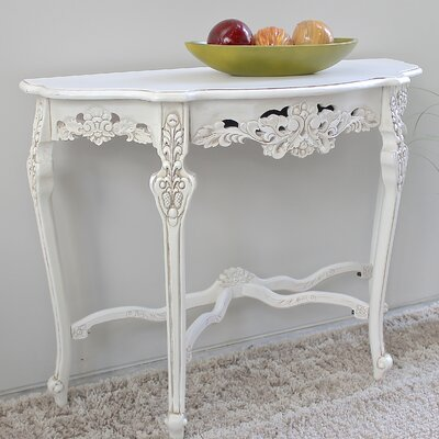 Betty Wood Console Table Color: Antique White