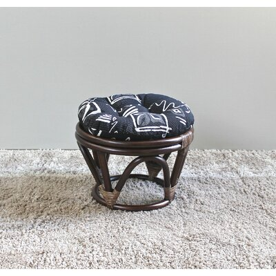 Bouirou Papasan Stool with Cushion Fabric: Black Zen