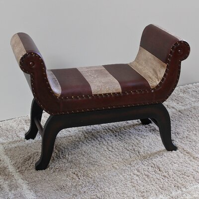 Miuccia Traditional Wood/Faux Leather Bench
