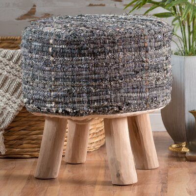 Wentworth Bogan Fabric Round Accent Stool Color: Blue Gray
