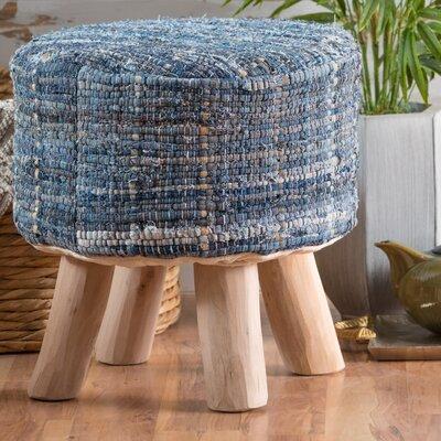 Wentworth Bogan Fabric Round Accent Stool Color: Denim
