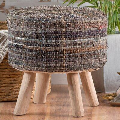 Wentworth Bogan Fabric Round Accent Stool Color: Khaki