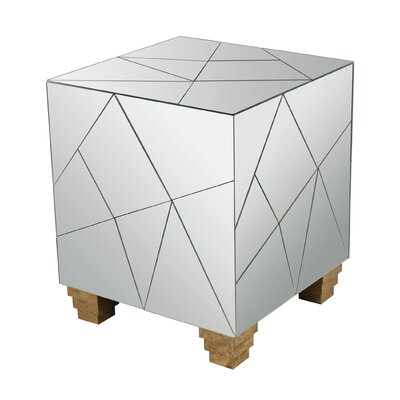 Aureolin Mirrored Cube Accent Stool