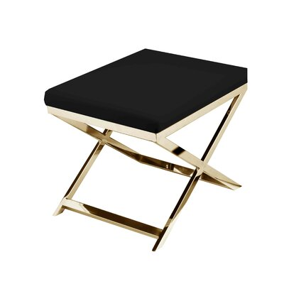 Bittle Accent Stool Frame Color: Gold, Seat Color: Black