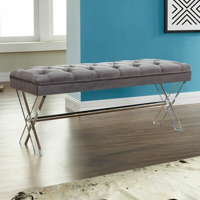 Bottomley Metal Bench Upholstery Color: Gray
