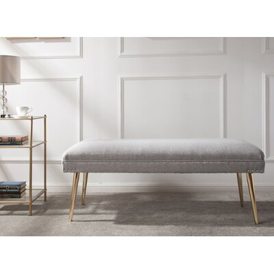 Sunni Wood Bench Upholstery: Light Gray