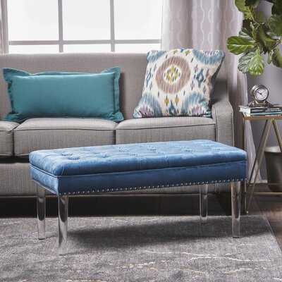 Rowles Upholstered Bench Upholstery: Aqua