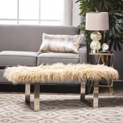 Holiday Wood Bench Upholstery: Gold