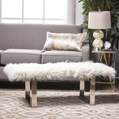 Holiday Wood Bench Upholstery: White