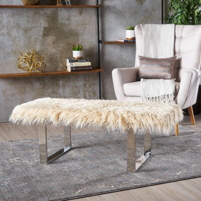 Holiday Wood Bench Upholstery: Silver Beige