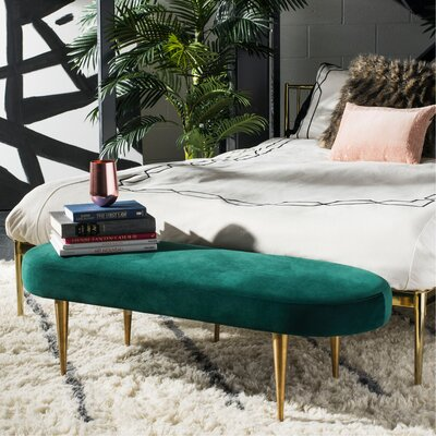 Oval Metal Bench Upholstery: Emerald