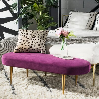 Oval Metal Bench Upholstery: Plum