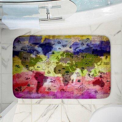 "Angelina Vick's Whimsical World Map VI Memory Foam Bath Rug Size: 36"" W x 24"" L"