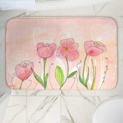 """Catherine Holcombe's Flowers Memory Foam Bath Rug Size: 24"""" W x 17"""" L"""