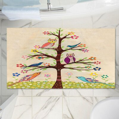 """Sascalia Owl Bird Tree Memory Foam Bath Rug Size: 24"""" W x 17"""" L"""