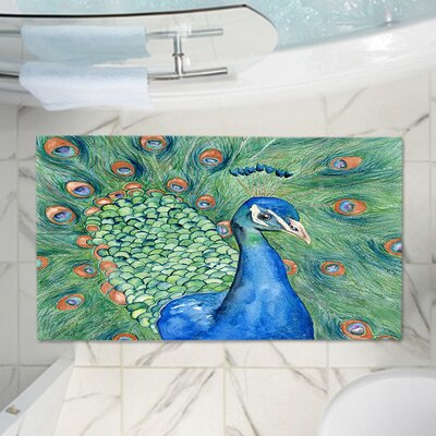 "Castillo Splendor Peacock Memory Foam Bath Rug Size: 24"" W x 17"" L"