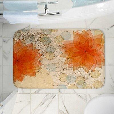"Spacey Flowers Memory Foam Bath Rug Size: 36"" W x 24"" L"