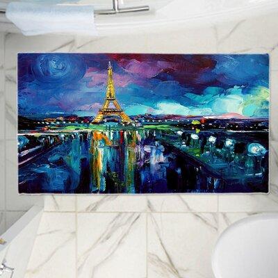 "Aja Ann's Parisian Night Eiffel Tower Memory Foam Bath Rug Size: 36"" W x 24"" L"