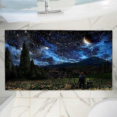 "Alex Ruiz's Starry Night Memory Foam Bath Rug Size: 36"" W x 24"" L"