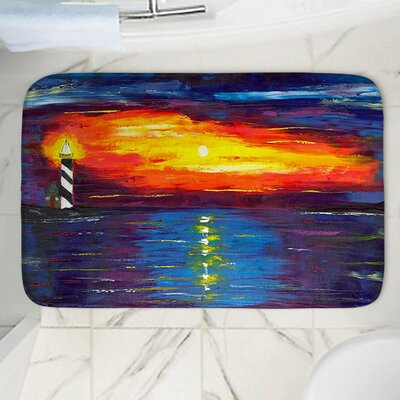 "Sunset at Lighthouse Memory Foam Bath Rug Size: 24"" W x 17"" L"