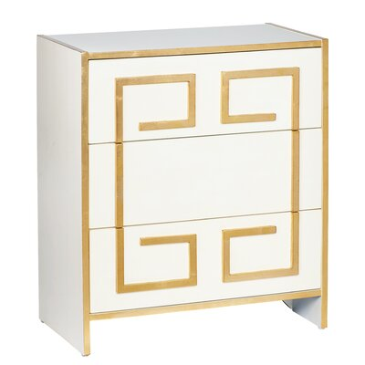 Greek 3 Drawer Accent Chest