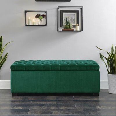 Mabel Shoe Upholstered Storage Bench Color: Emerald